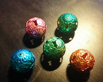 Large filigree metal bead size 20mm color choice