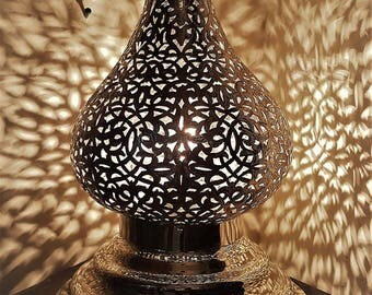 Free shipping - EXOTIC MOROCCAN LIGHT Beautiful Silver Handmade Vintage Metal Moroccan Lamp with Intricate Cut Out Designs