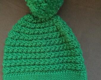 Green Winter Hat with Pom-Pom