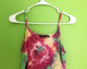 Small Tie Dye Crop Top--Handmade--Loose Fit--Tie Dye Swirl--Red, Green, Yellow--Festival Fashion