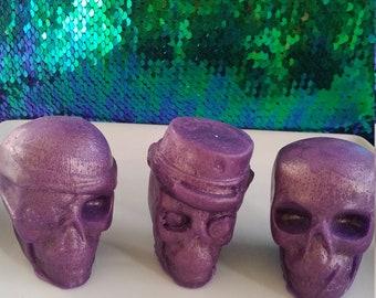 set of 3 skull soap