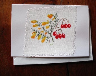 Hand Painted Water Colour Card with Envelope Botanical Study Free P&P