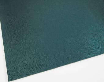 SAMPLE 4X4 Metallic Forest Green Textured Faux Leather, Black Soft Cotton Backing, Vegan Leather