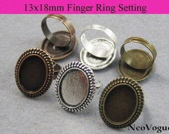 50 - 13x18mm Finger Ring Setting, 13x18mm Ring Tray, Oval Bezel Ring Tray - FREE SHIPPING