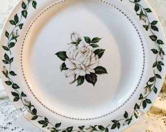 Vintage Superior Hall Quality Dinnerware Breakfast Plate In Cameo Rose - White Green Gold