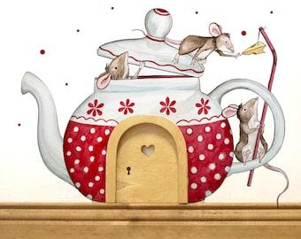 Elf door with wall decals mice teapot E11