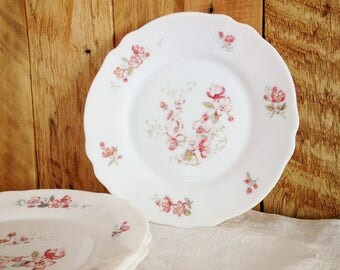 Pink flowers Arcopal old dessert plates