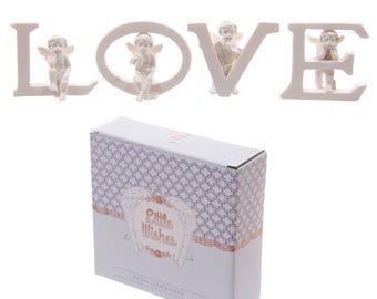 Cute Cherub Love, Mum and Home Letters Ornament