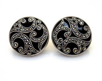 Sterling Silver Round Shape Onyx Marcasite Accent Clip Earrings