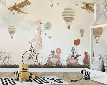 Play Time Kids Wallpaper Animals And Hot Air Balloons Nursery Wall Mural  Decor Peel And Stick Part 75