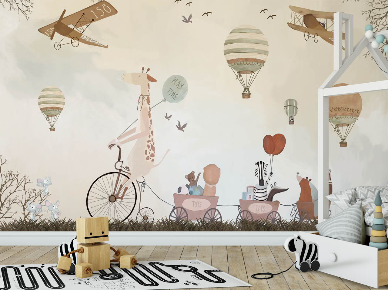 play time kids wallpaper animals and hot air balloons nursery