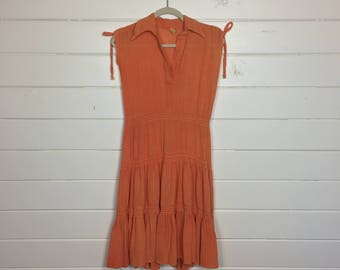 Vintage 1970s Orange Gauze Cotton Tiered Sundress / Shoulder Ties / Bohemian / Crinkle Cotton