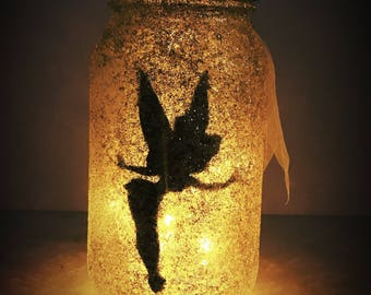 tinkerbell  jar gold with led light