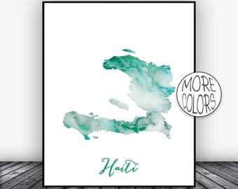 Haiti Map Art Print Haiti Art Print Haiti Decor Haiti Print Map Artwork Map Print Map Poster Watercolor Print ArtPrintsZoe