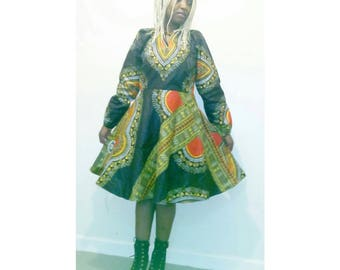 Dashiki dress, dashiki skater dress, dashiki long sleeved dress