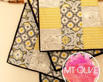 Gray & Mustard Baby Quilt 100% Cotton