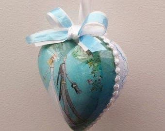 Decoupage Plastic Heart * * * wedding decoration or gift