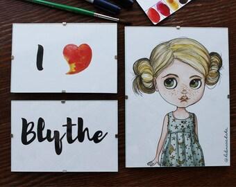 Blond Haired Blythe doll illustration, Original Art, Blythe Art, Framed Art