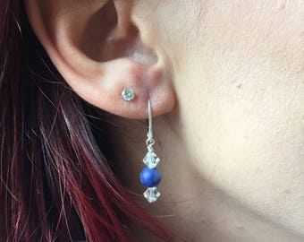 Sodalite, Swarovski Crystals, and sterling silver earrings