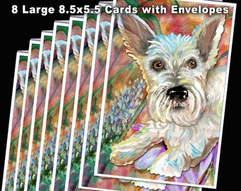 Westie Dog Cards / Large FUN 8.5x5.5 Cards plus Envelopes / Colorfully Painted by me, Julie Noland, Gratitude Cards gives to Humane Society