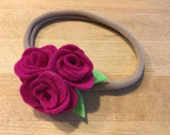 Felt rose flower headband (baby & toddler)