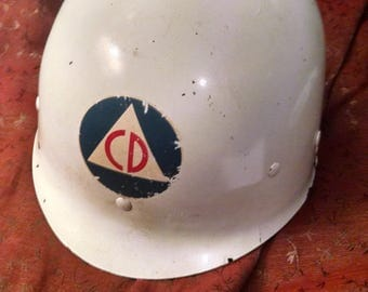 Authentic Vintage  Cold War Era Civil Defense Helmet