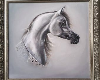 Sayyad, Original Arabian Horse Oil Painting, framed