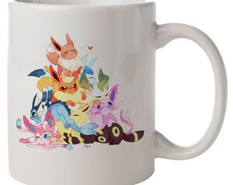 Cute Eevee Pile. Pokemon Mug
