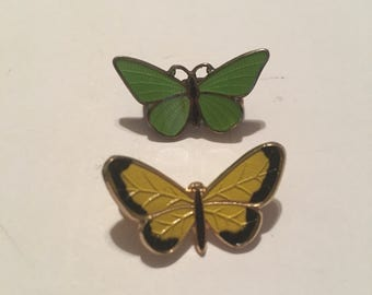 Vintage figural butterfly brooch lot of 2