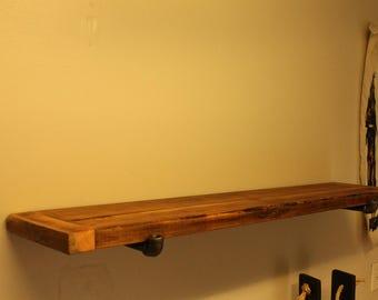 Shelves: Reclaimed lumber and black steel