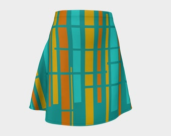 Blue, Skirt, Gift,  For Her, Wife Gift, Womens Skirt, Gift, Retro, Geometric, A-Line Skirt, Womens Gift, Unique, Gift for Women, Turquoise