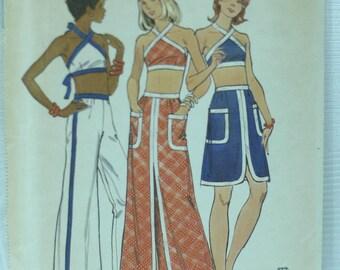 70's Butterick trendy halter top pants ,skirt pattern sz 14