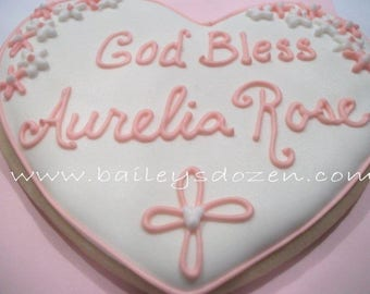 Baptism cookie favors   Large heart cookies   Communion favors   Custom decorated cookies   hearts and flowers and infinity cross