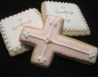 Mini Cross Cookies | Baptism favors mini squares | Custom decorated cookies | Personalized iced sugar cookies