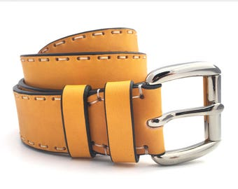 Yellow Leather Belt - Handmade Full Grain Leather Belt