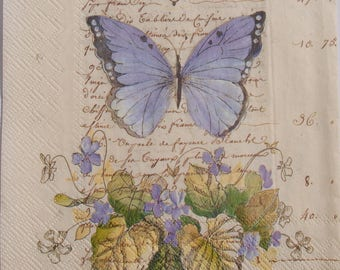 Decoupage Paper Napkins x4 Purple Butterfly for Decoupage Craft Scrapbooking 022