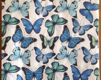 Decoupage Paper Napkins Blue Butterfly x4 for Decoupage Scrapbooking Crafts 074