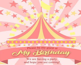Red Birthday Invitation Carnival Theme