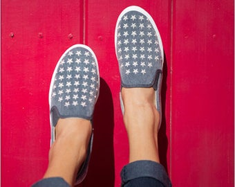 Navy Slip-on Sneaker made in Spain with embroidered stars