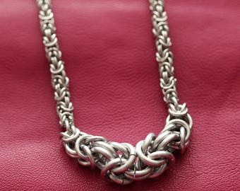 Silver Graduated Byzantine Necklace