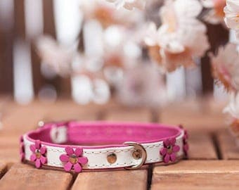 "soft feel - collar leather ""Flowers"" in 9 colors neck size 21-26 cm for very small - small dogs art. WHITE PINK 582"