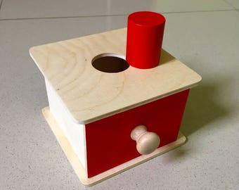 Montessori Toddler permanence box with drawer and cylinder