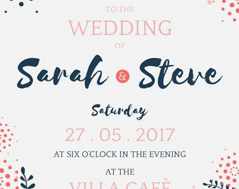 Navy Blue + Coral Wedding Invitation Template