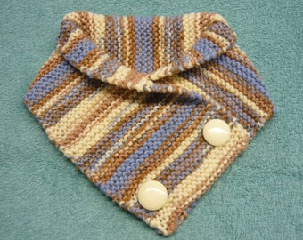 Wool neck warmer Brown, beige, light blue – garter St – designed to needle – closed from 2 buttons – 16.5 x H 73 cm