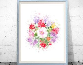 Watercolor Flowers watercolor flower watercolor floral wedding flowers pink flowers watercolor print flowers digital Watercolour Bouquet