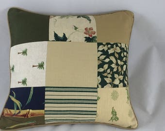 Shabby Chic patchwork cushion cover with plain back, piped