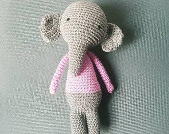 Sweet doudou elephant amigurumi - soft and cuddly plush handmade: gift, child, toys, handmade