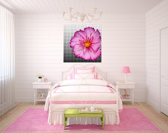 Fun Canvas Wrapped Pink Flower with Black and White Polka Dots