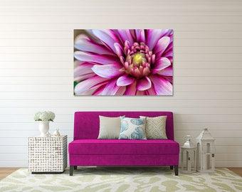 Beautiful Gallery Wrapped Canvas Purple Dahlia Photograph