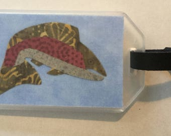 Trout Fabric  Luggage Tag